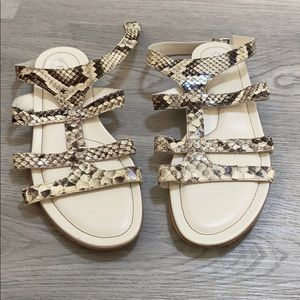 Tod's Snakeskin Ankle Strap Flat Sandals 9